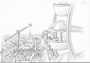 Kermisdief Bart kijkt uit reuzenrad